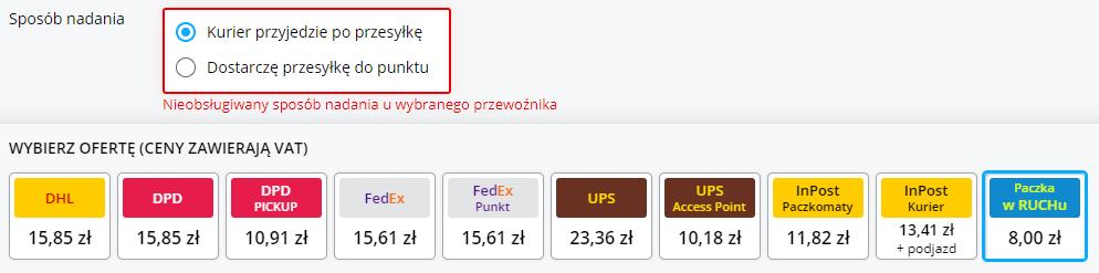 Wybór sposobu nadania zzaznaczoną opcją kurier przyjedzie poprzesyłkę iPaczka wRuchu za8 zł