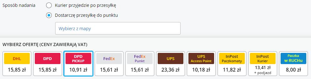 Wybór sposobu nadania zzaznaczoną opcją dostarczę przesyłkę dopunktu DPD Pickup za10,91 zł