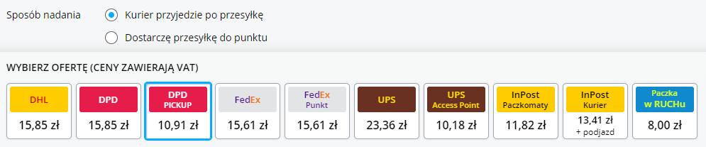 Wybór sposobu nadania zzaznaczoną opcją kurier przyjedzie poprzesyłkę iDPD Pickup za10,91 zł